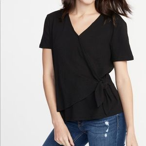 NWT OLD NAVY | textured wrap front side tie top